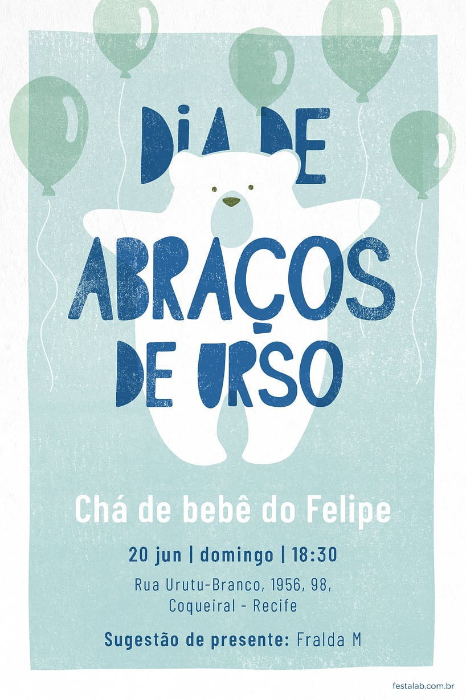 Criar convite de Chá de fraldas - Ursinho Com Balões Azul| FestaLab