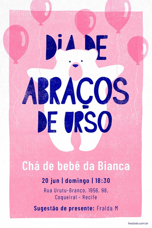 Criar convite de Chá de fraldas - Ursinho com balões Rosa  FestaLab