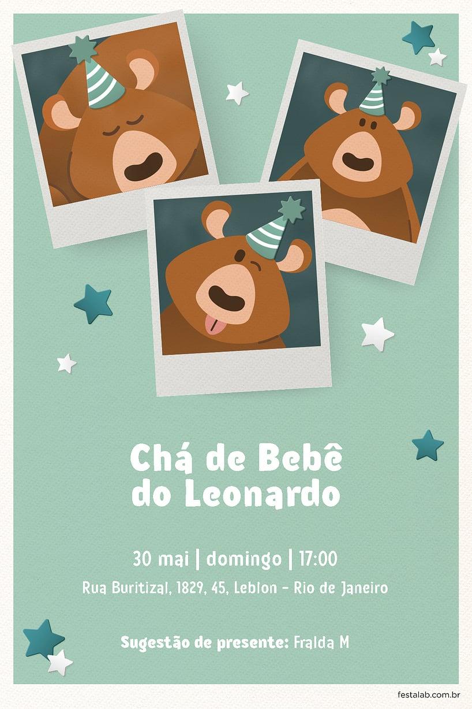 Criar convite de Chá de fraldas - Ursinho Festa Verde| FestaLab