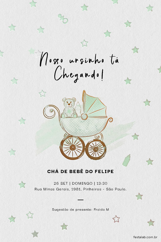 Criar convite de Chá de fraldas - Ursinho no Carrinho| FestaLab