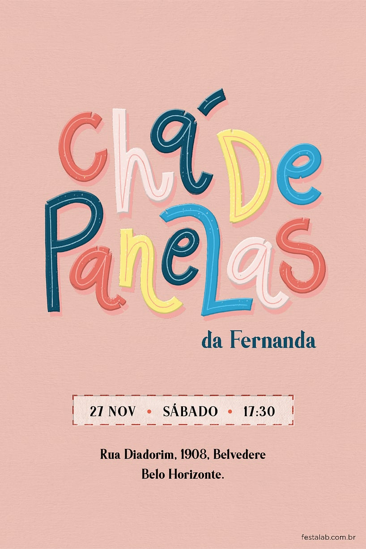 Criar convite de chá de panela - Lettering | Festalab