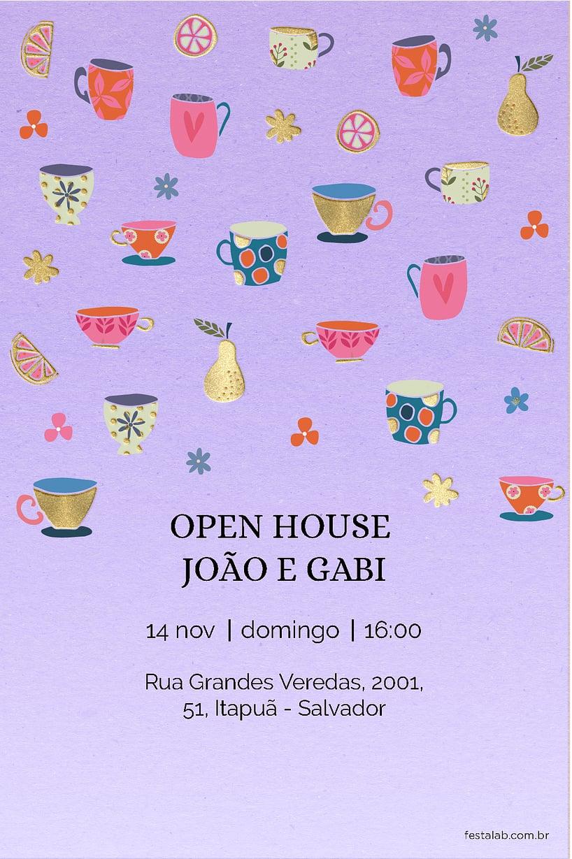 Convite de Cha de panela - Cha de Panelas Roxo