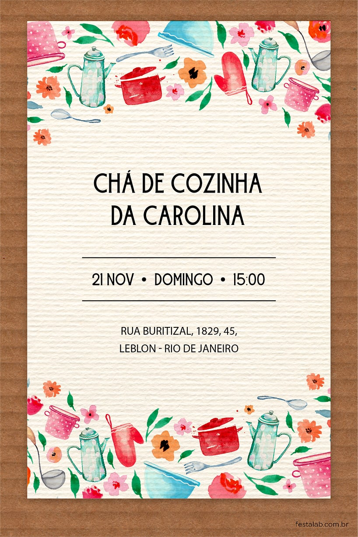 Convite de Cha de panela - Cha de Panelas Rustico