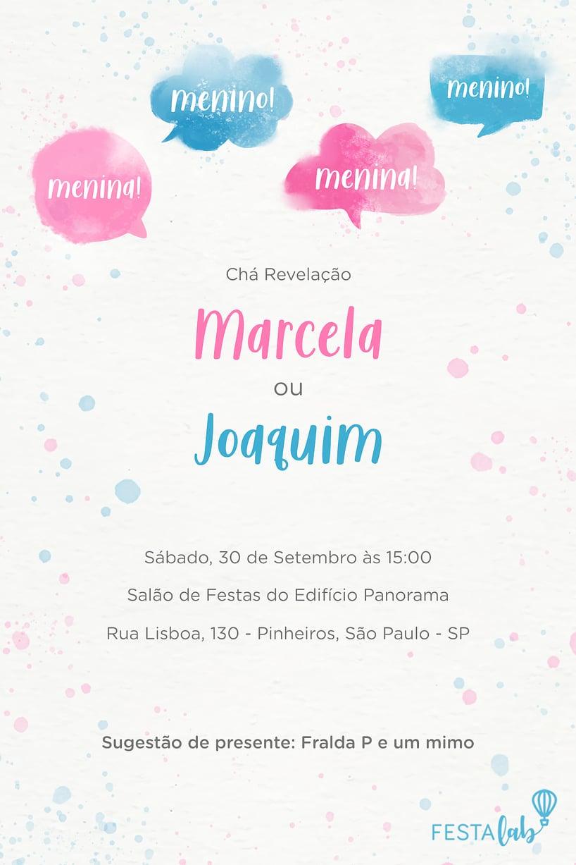 Criar convite de Chá revelação - Balões Aquarela | Festalab