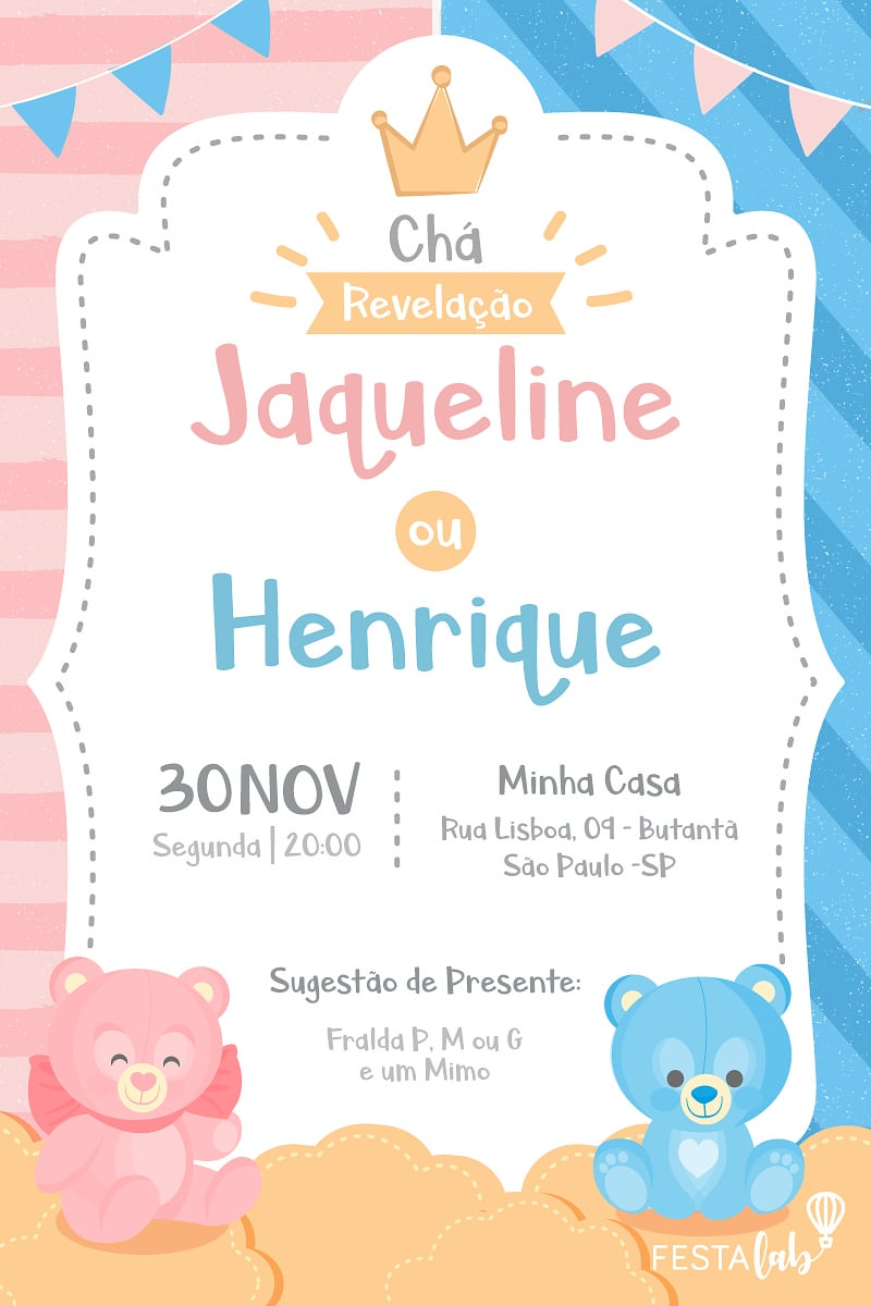 Convite de Cha Revelacao - Ursinhos
