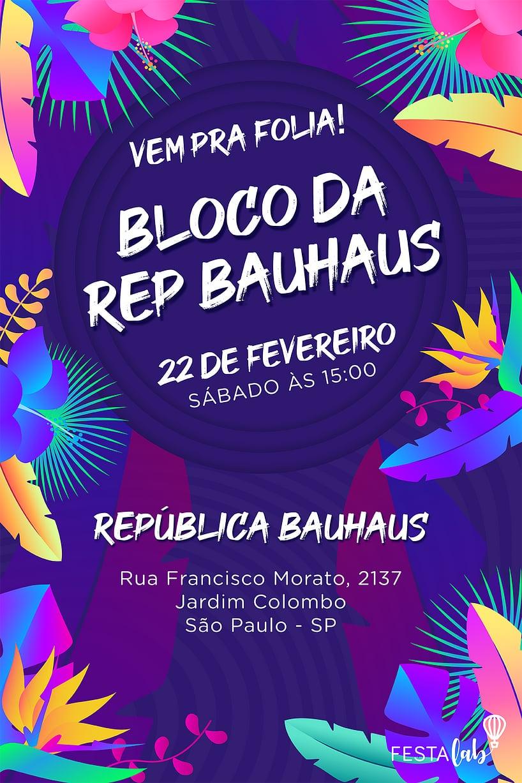 Convite de Ocasioes especiais - Carnaval Neon