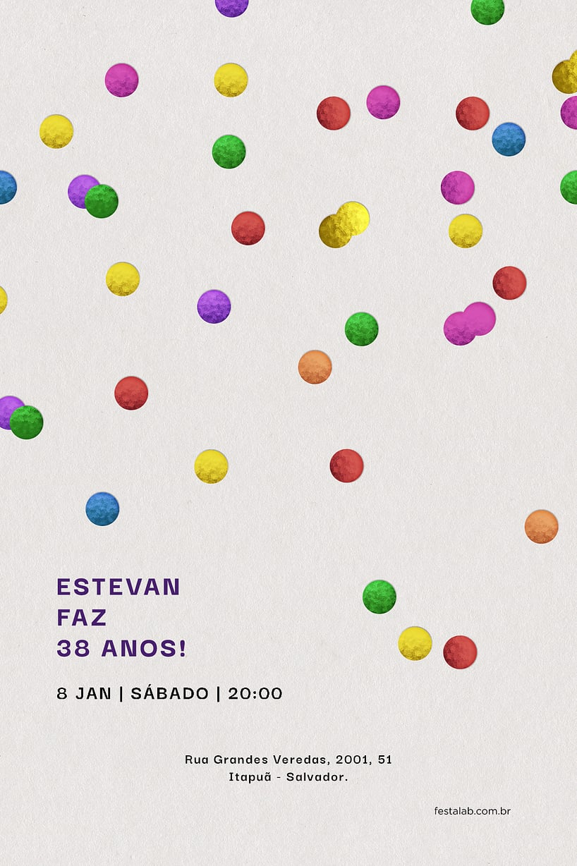 Criar convite de Ocasiões especiais - Confete| FestaLab