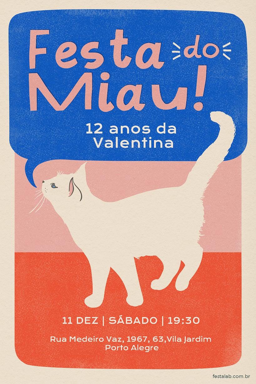 Criar convite de Ocasiões especiais - Festa do Miau| FestaLab
