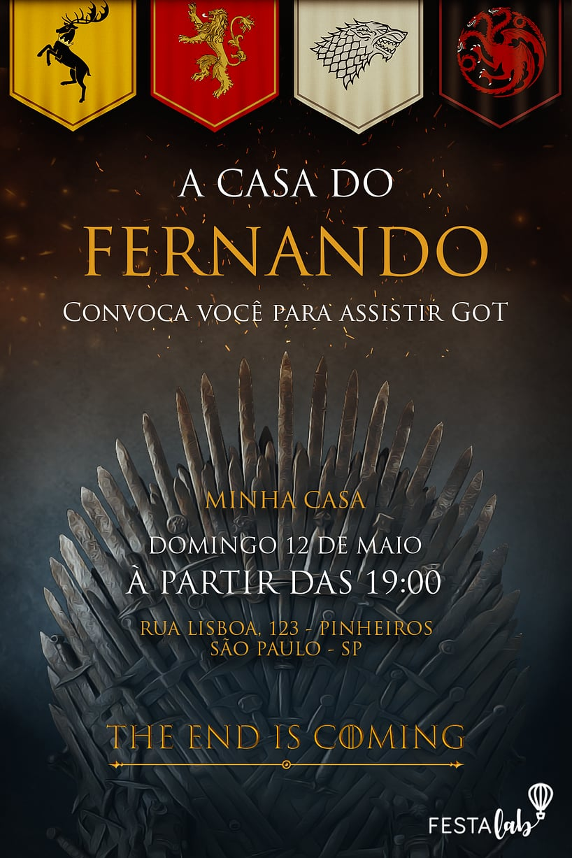 Convite de Ocasioes especiais - Game of Thrones