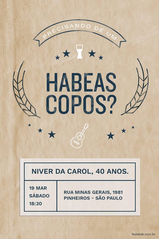 Criar convite de Ocasiões especiais - Habeas Copos?| Festalab