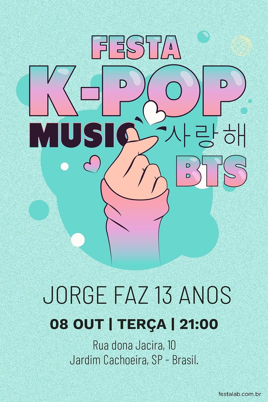 Convite de Ocasioes especiais - Kpop