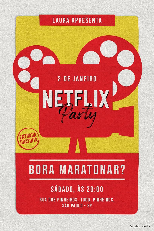 Convite de Ocasioes especiais - netflix party
