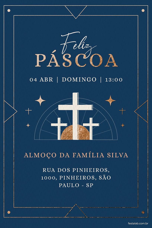 Criar convite de Ocasiões especiais - Páscoa Religioso Azul| FestaLab