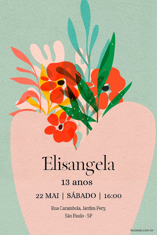 Convite de Ocasioes especiais - Vaso Floral
