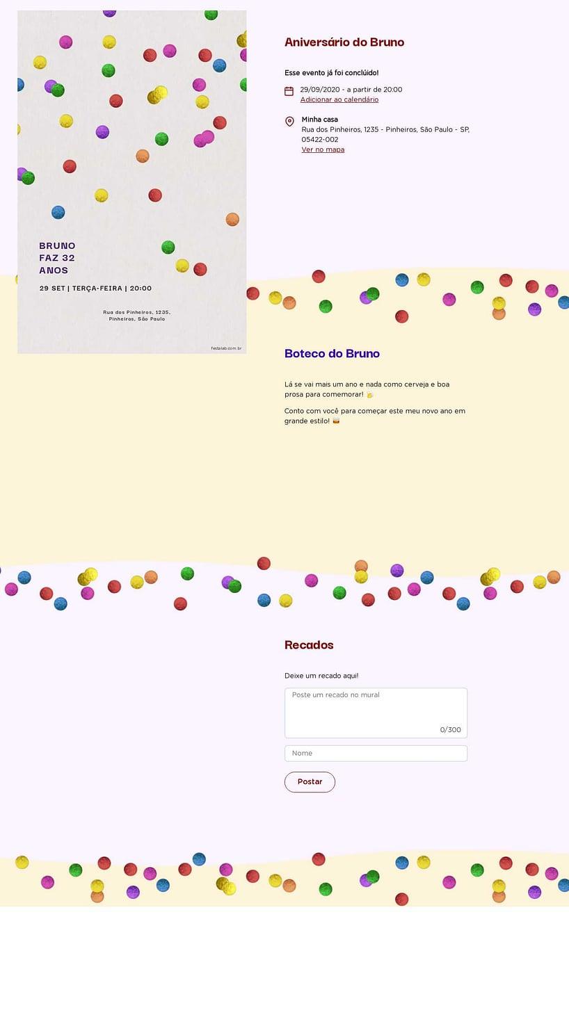 Convite online de aniversário - Confete| FestaLab