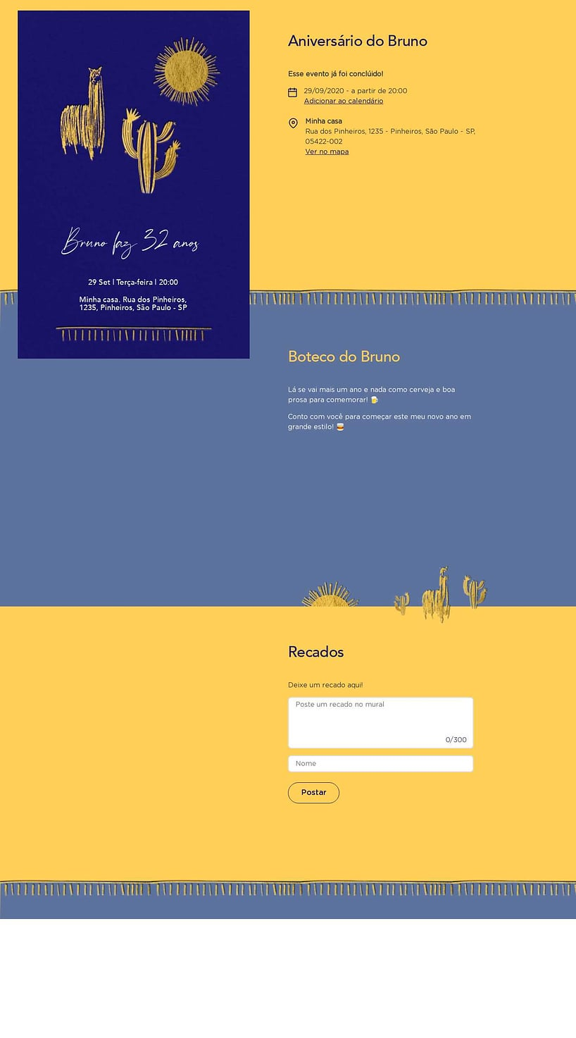 Convite online de aniversário - Lhama Gold| FestaLab