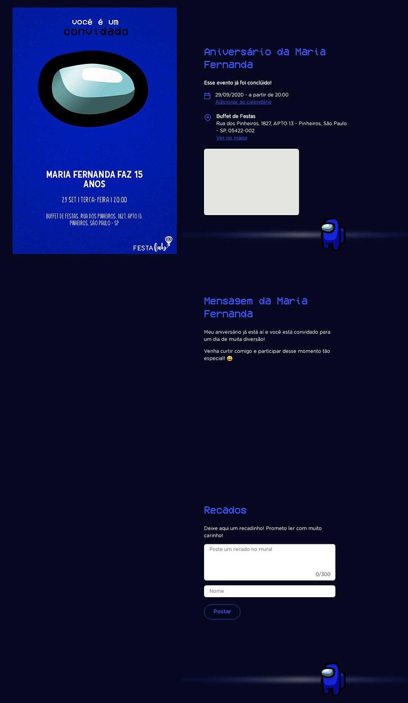 Convite online de aniversário - Among Us| FestaLab