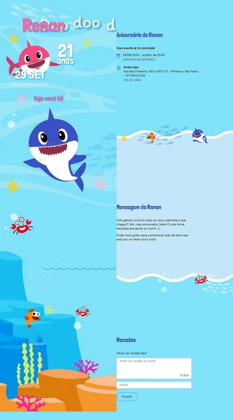 Convite Baby Shark para Editar