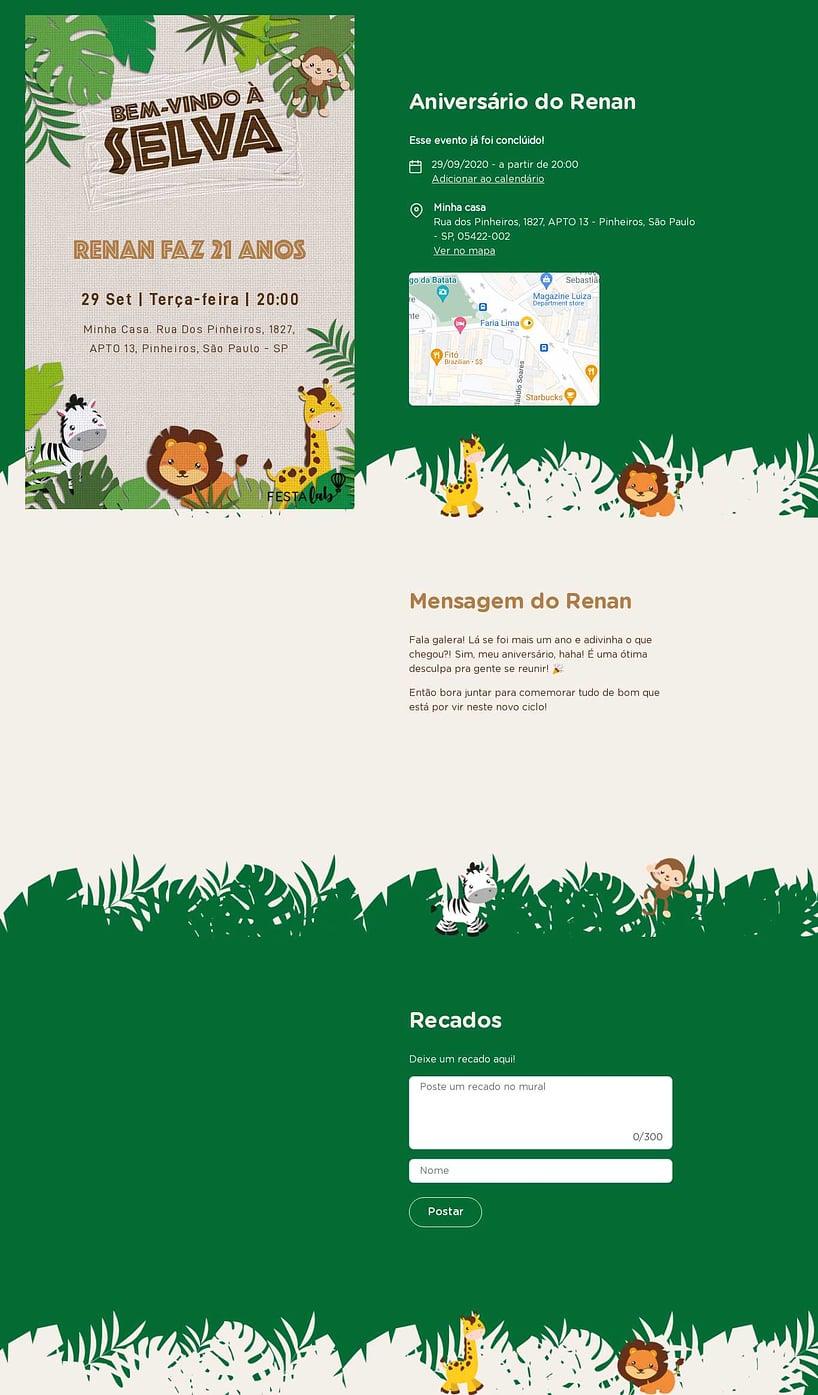 Convite online de aniversário - Bem Vindo a Selva| Festalab