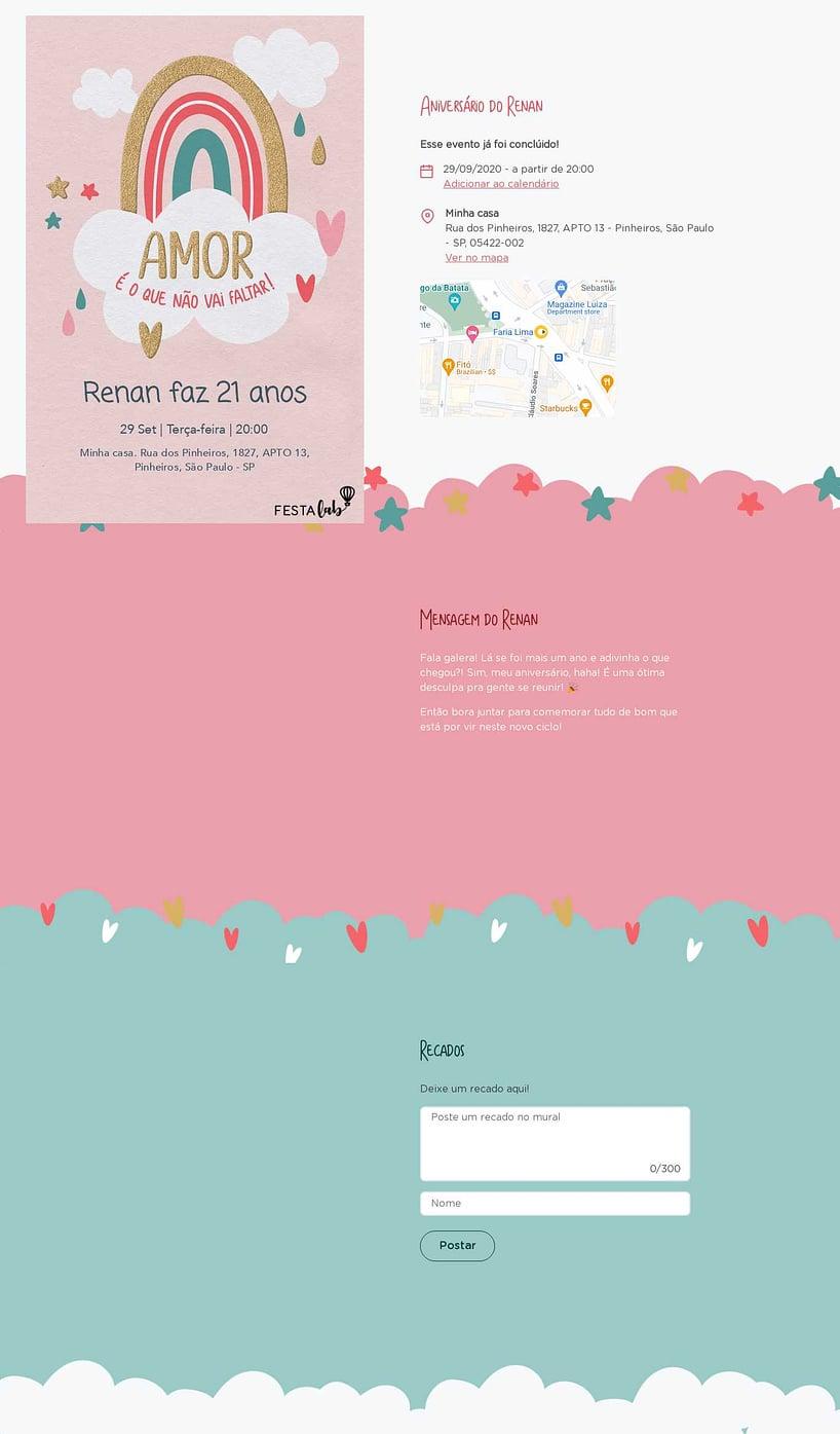 Convite online de aniversário - Chuva de Amor Céu Rosa  FestaLab