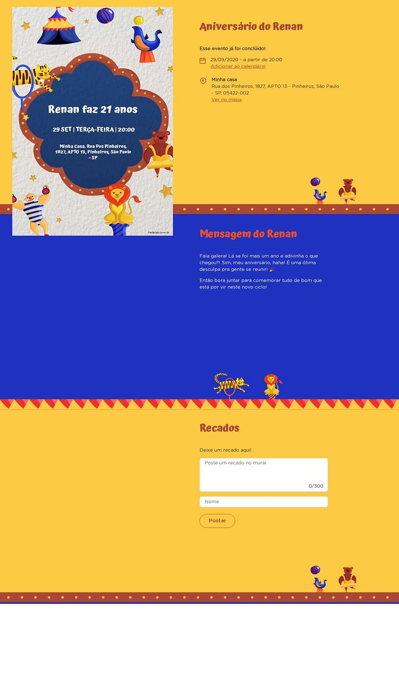 Convite online de aniversário - Circo| FestaLab