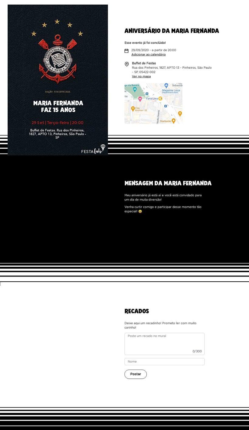Convite online de aniversário - Corinthians camisa  FestaLab