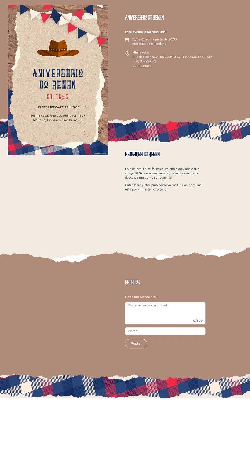 Convite online de aniversário - Cowboy| FestaLab