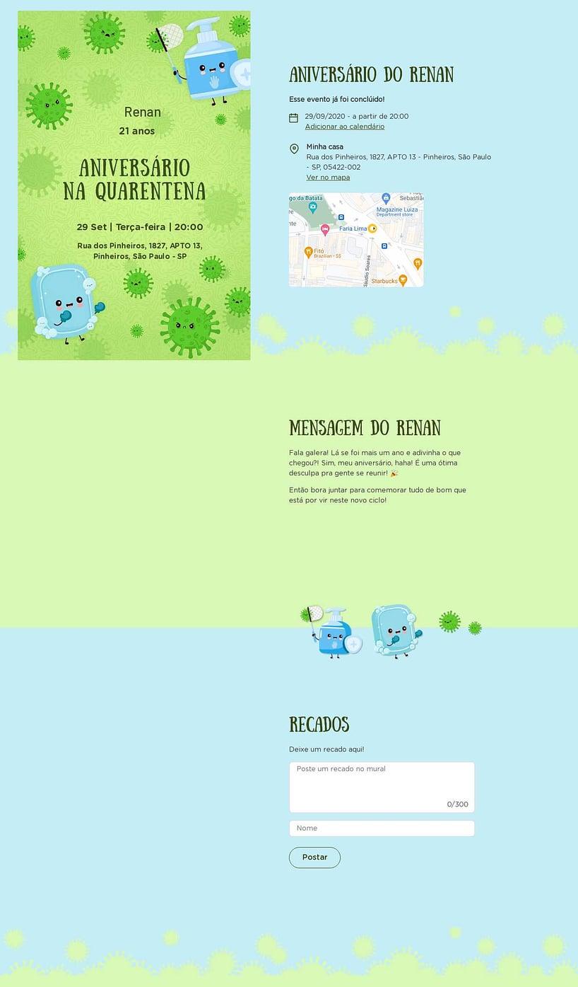 Convite online de aniversário - Encontro quarentena| Festalab