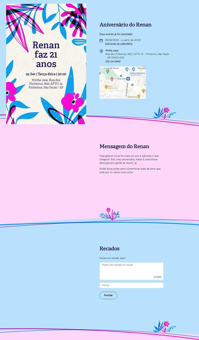 Convite online de aniversário - Floral  FestaLab