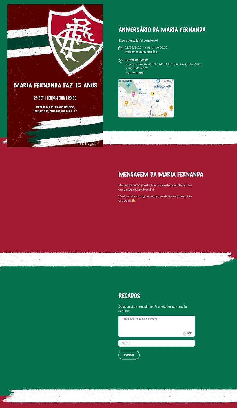 Convite online de aniversário - Fluminense  FestaLab