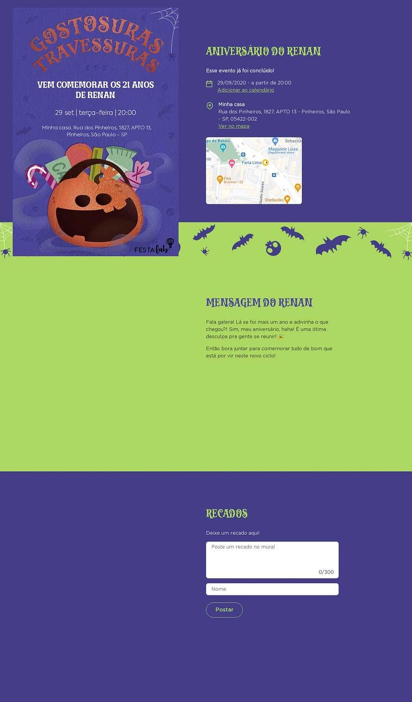 Convite online de aniversário - Halloween Abóbora| FestaLab