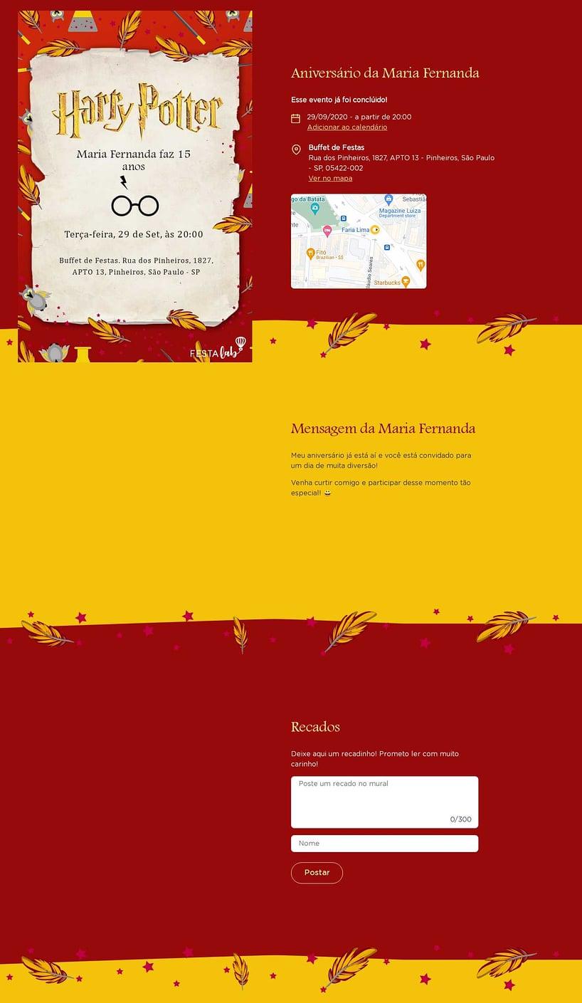 Vibe de Aniversario - Harry Potter Grifinoria
