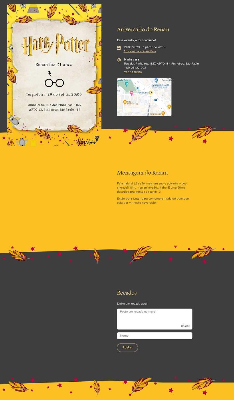 Convite online de aniversário - Harry Potter Lufa Lufa| FestaLab