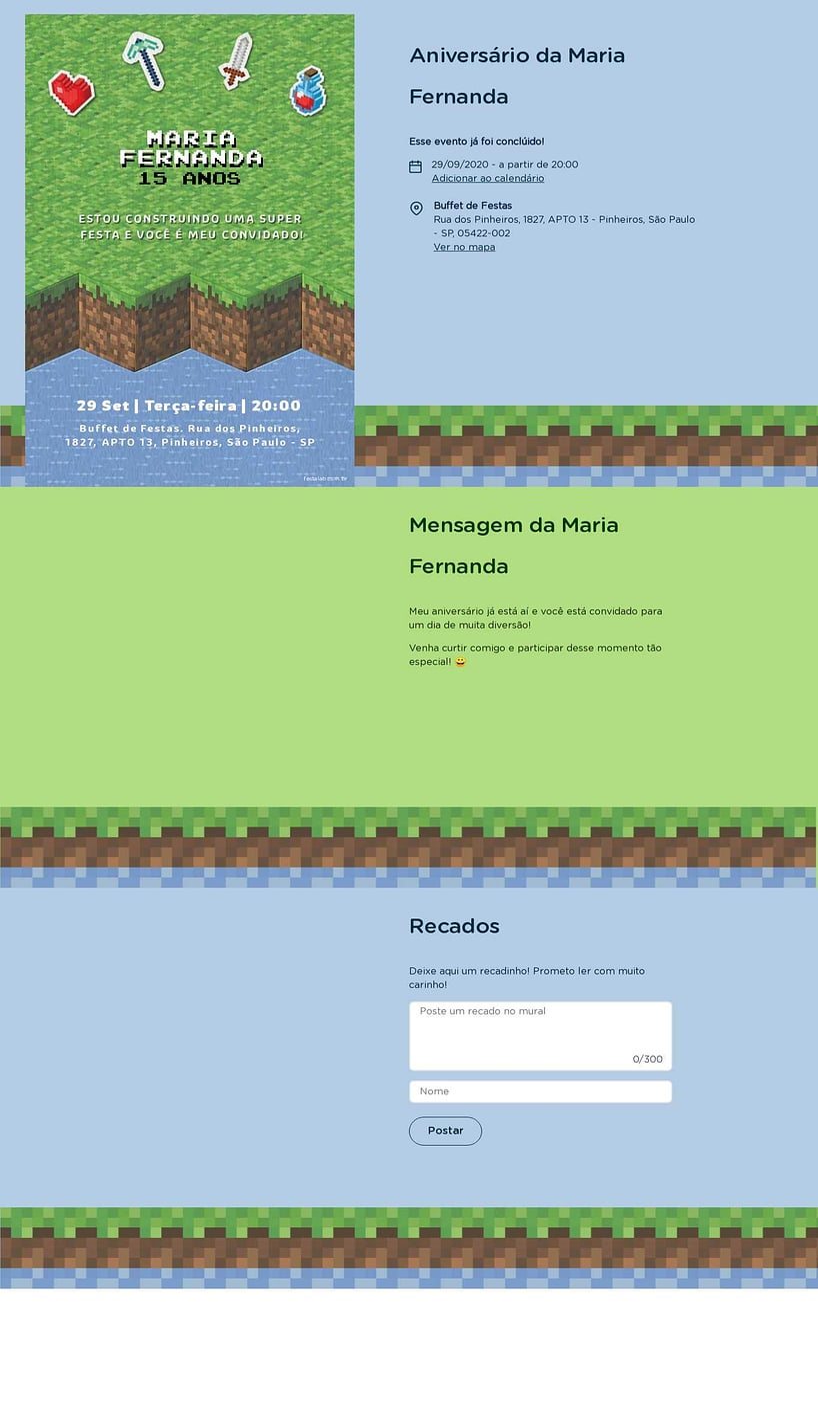 Convite online de aniversário - Mini Pixels| FestaLab