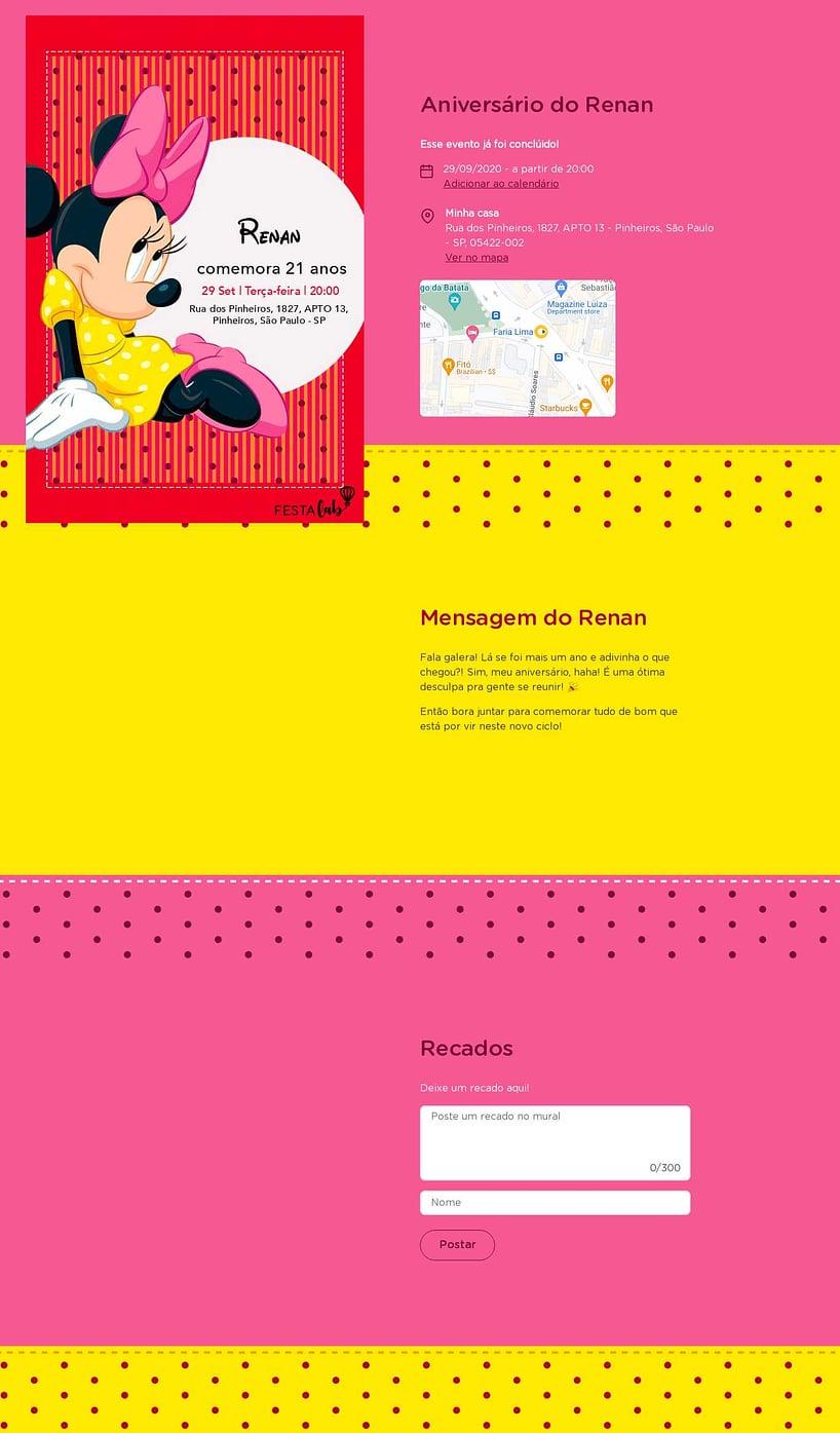 Convite online de aniversário - minnie mouse rosa| FestaLab