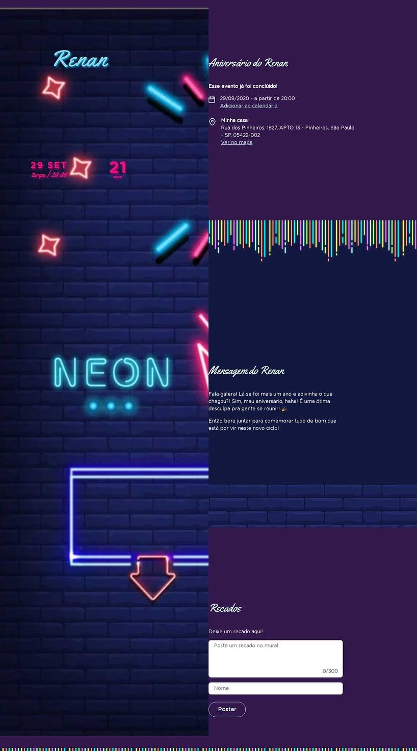 Convite online de aniversário - Neon| Festalab
