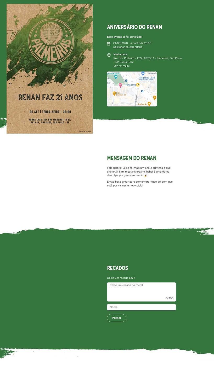 Convite online de aniversário - Palmeiras| FestaLab