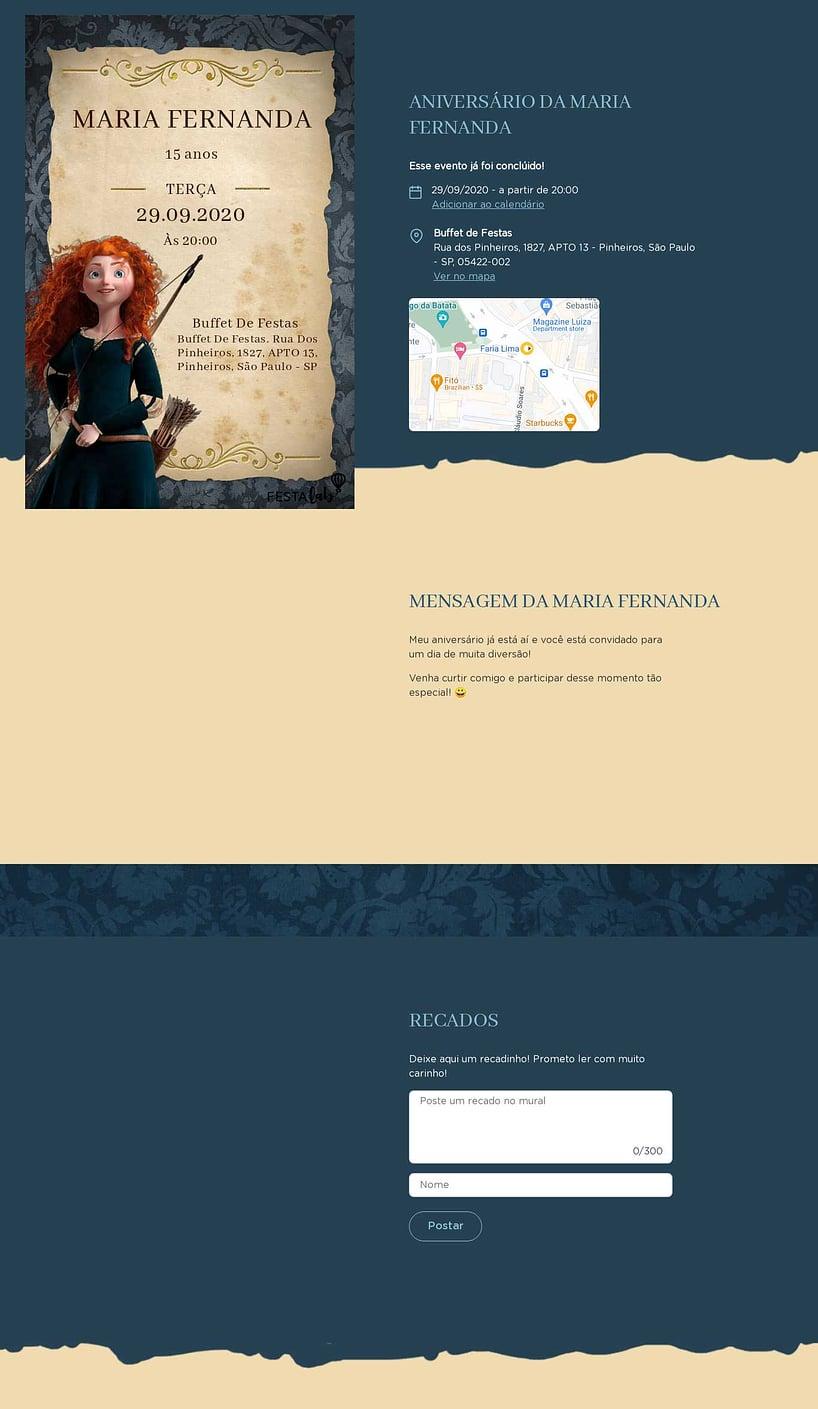 Convite online de aniversário - Princesa Merida| Festalab