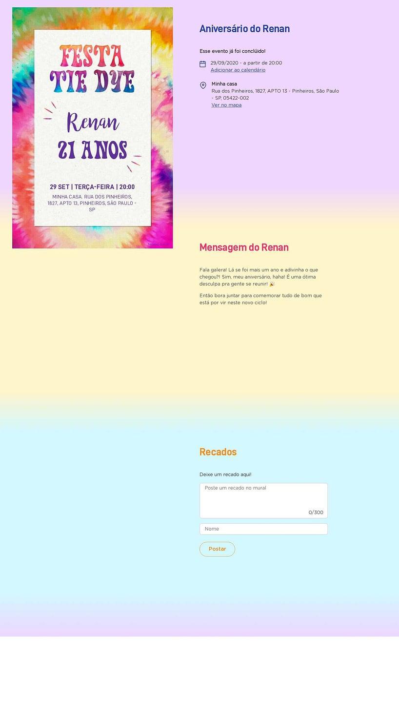 Convite online de aniversário - Tie Dye  FestaLab