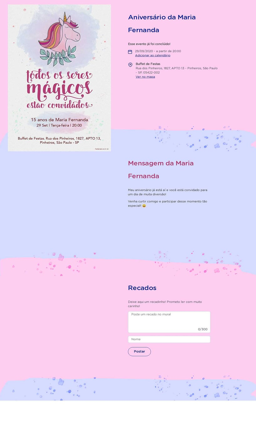 Convite online de aniversário - Unicórnio Aquarela| FestaLab