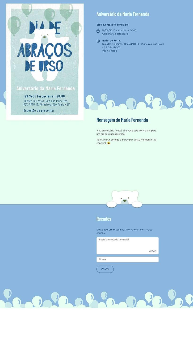Convite online de aniversário - Ursinho Com Balões Azul  FestaLab
