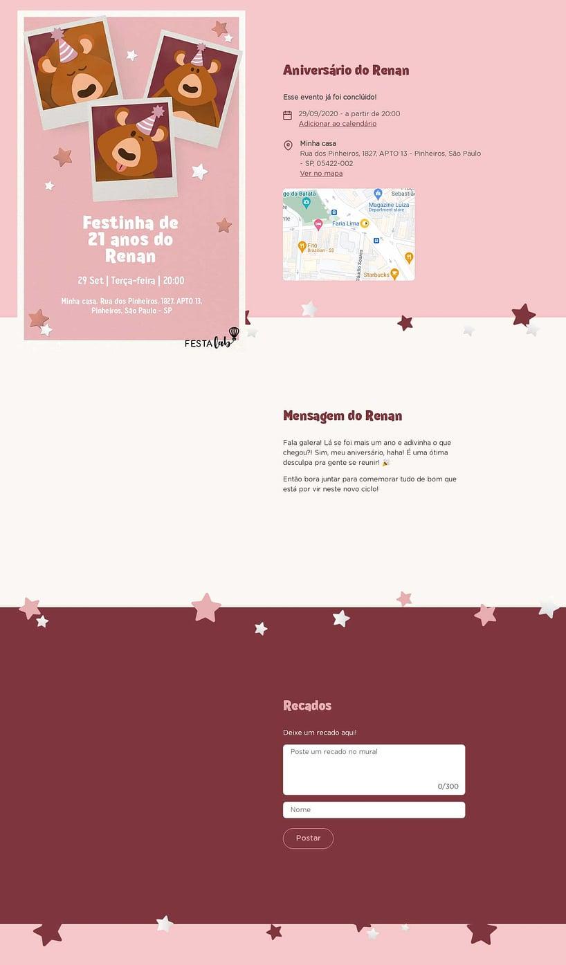 Convite online de aniversário - Ursinho Festa Rosa| FestaLab
