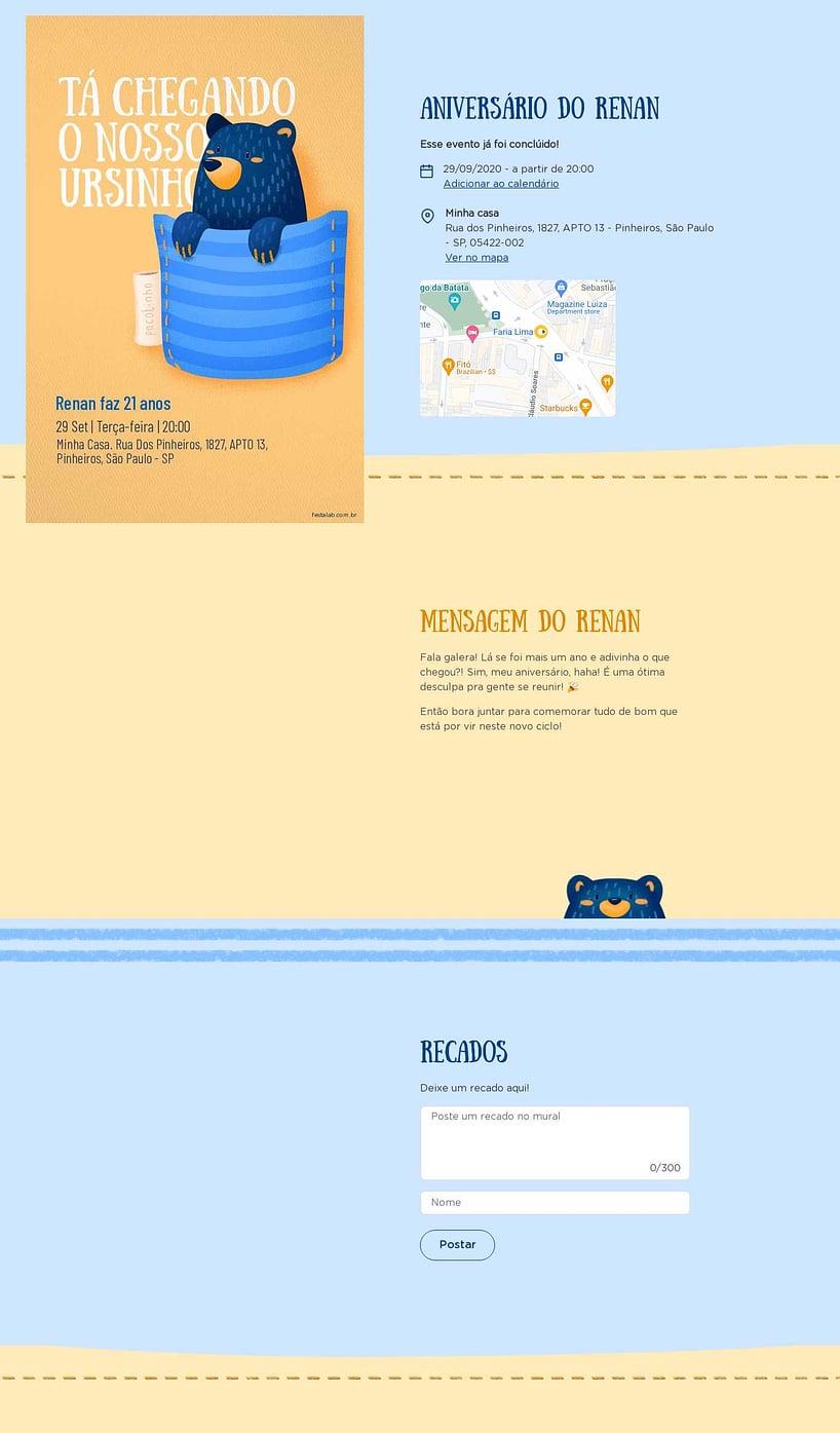 Convite online de aniversário - Ursinho no Bolsinho  FestaLab