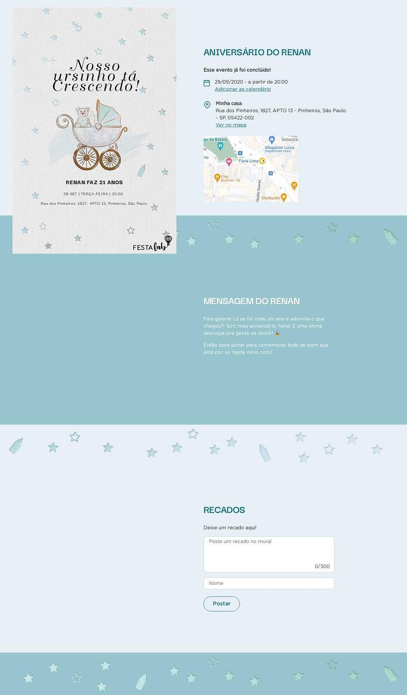 Convite online de aniversário - Ursinho no Carrinho  FestaLab