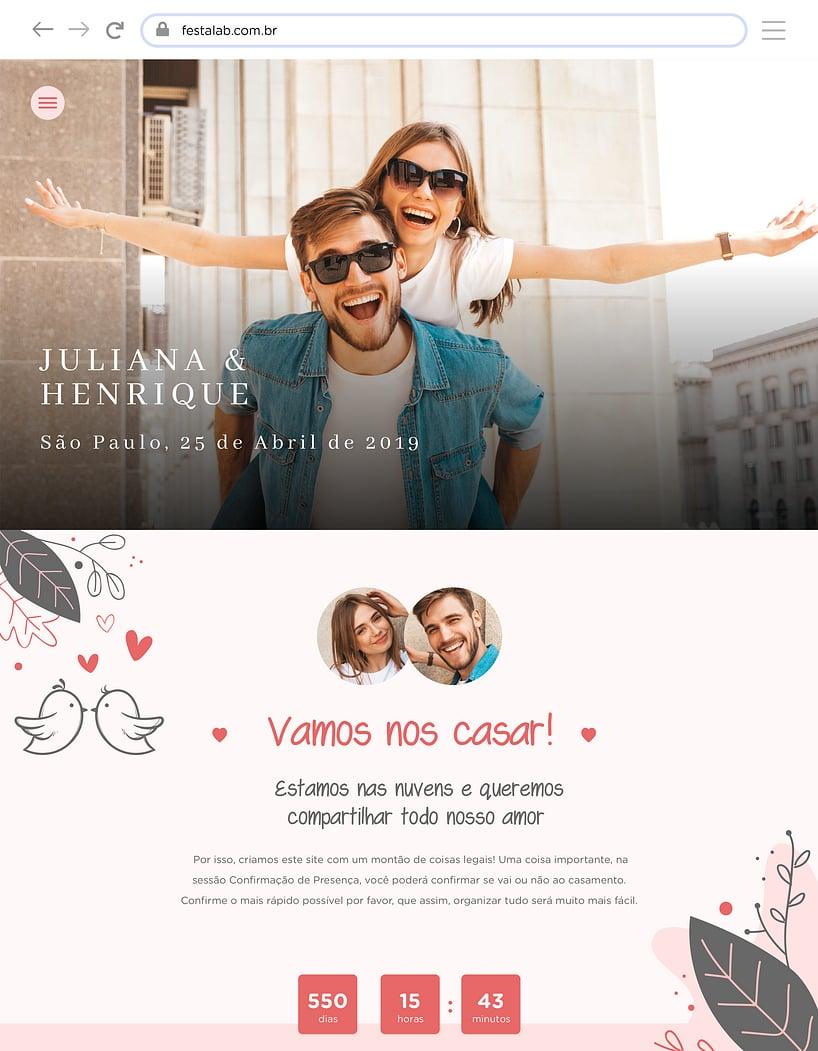 Website de casamento - Pombinhos