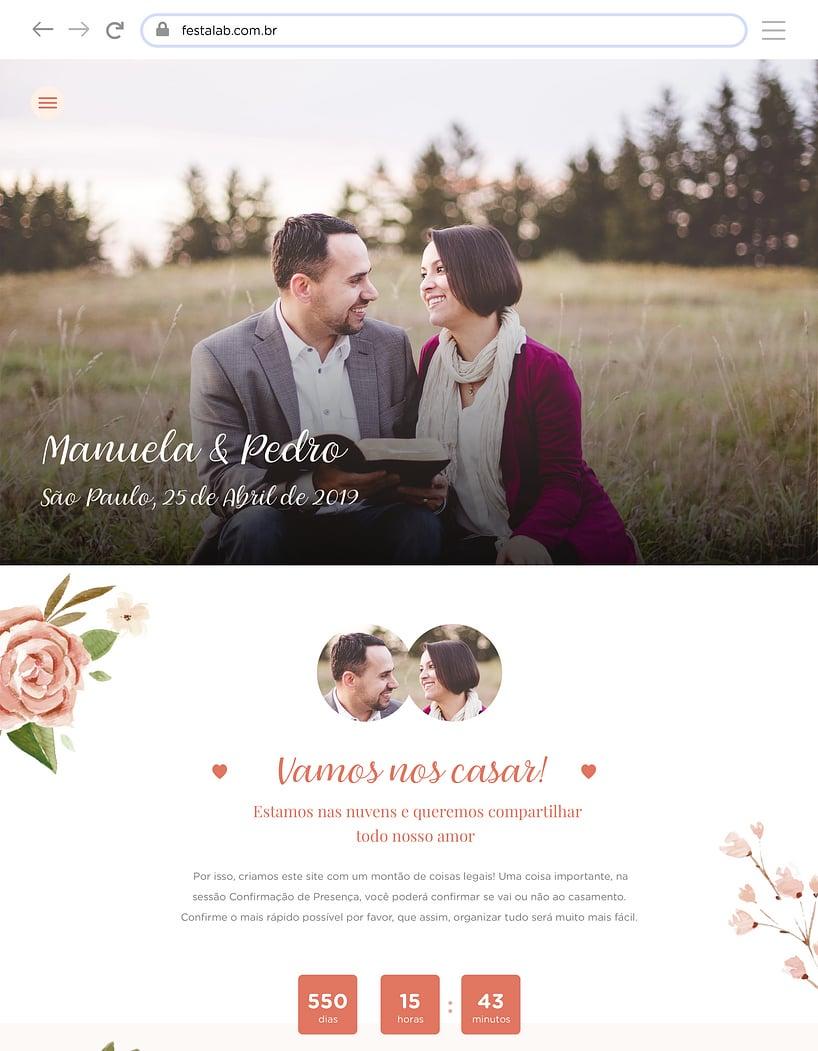 Website de casamento - Rosas