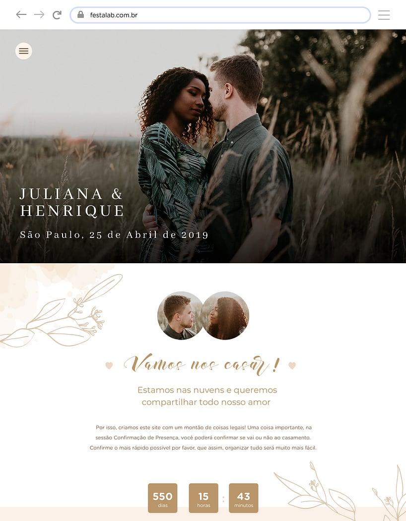 Crie seu site de Casamento - Rústico delicado| Festalab