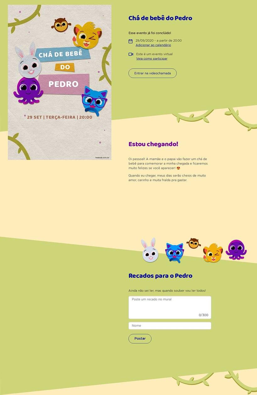 Convite Online Chá de bebê - Bolofofos Selva   FestaLab