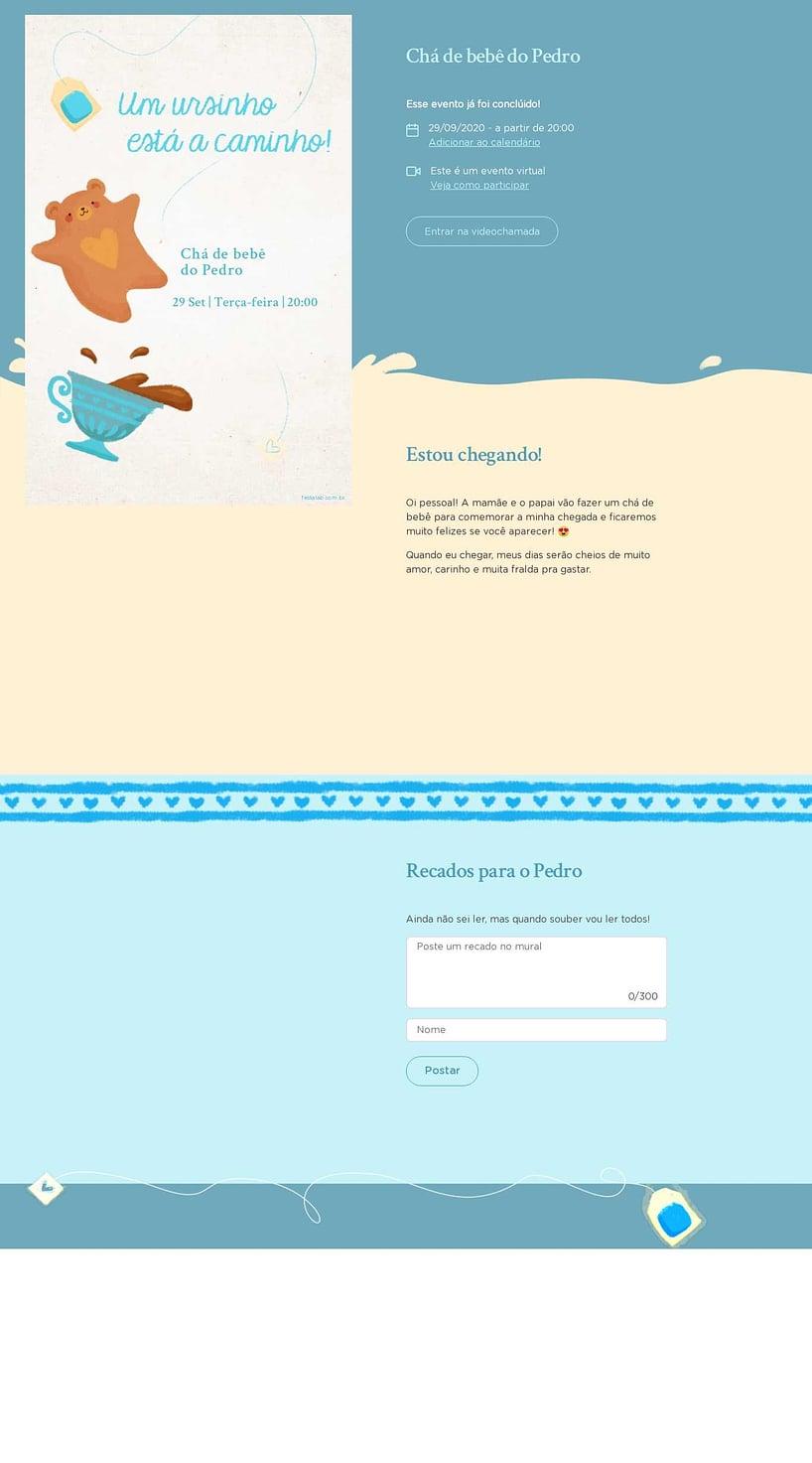 Convite Online Chá de bebê - Chá do Ursinho Azul | FestaLab