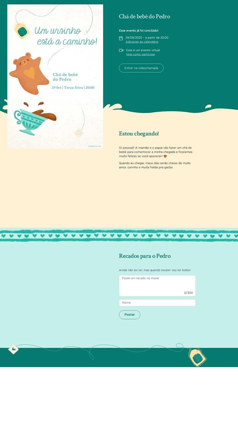 Convite Online Chá de bebê - Chá do Ursinho Verde | Festalab